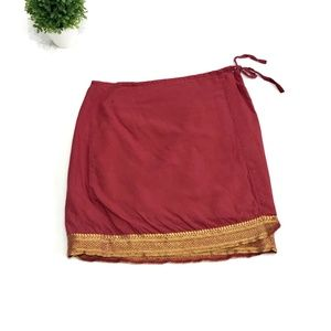 American Eagle | Red Gold Trim Cotton Wrap Skirt 0